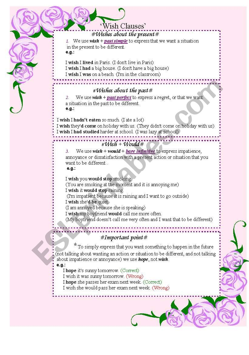 Wish clauses( Explanation, exercise and conversation card)