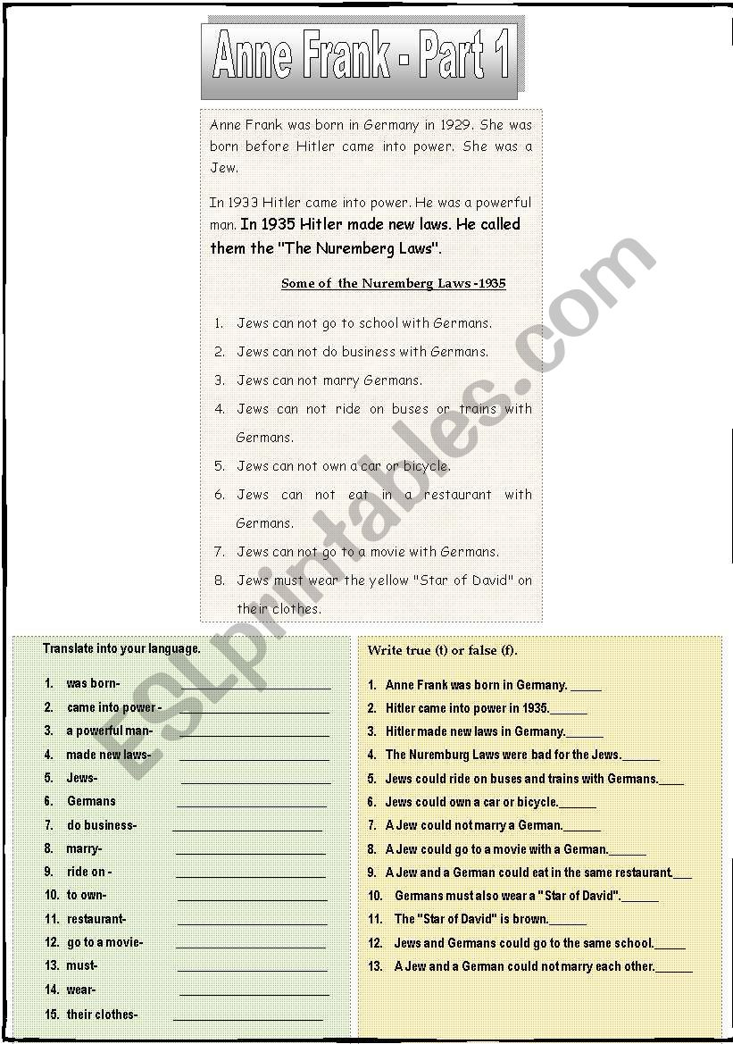 ANNE FRANK: A SET of 4 WORKSHEETS (6 pages)