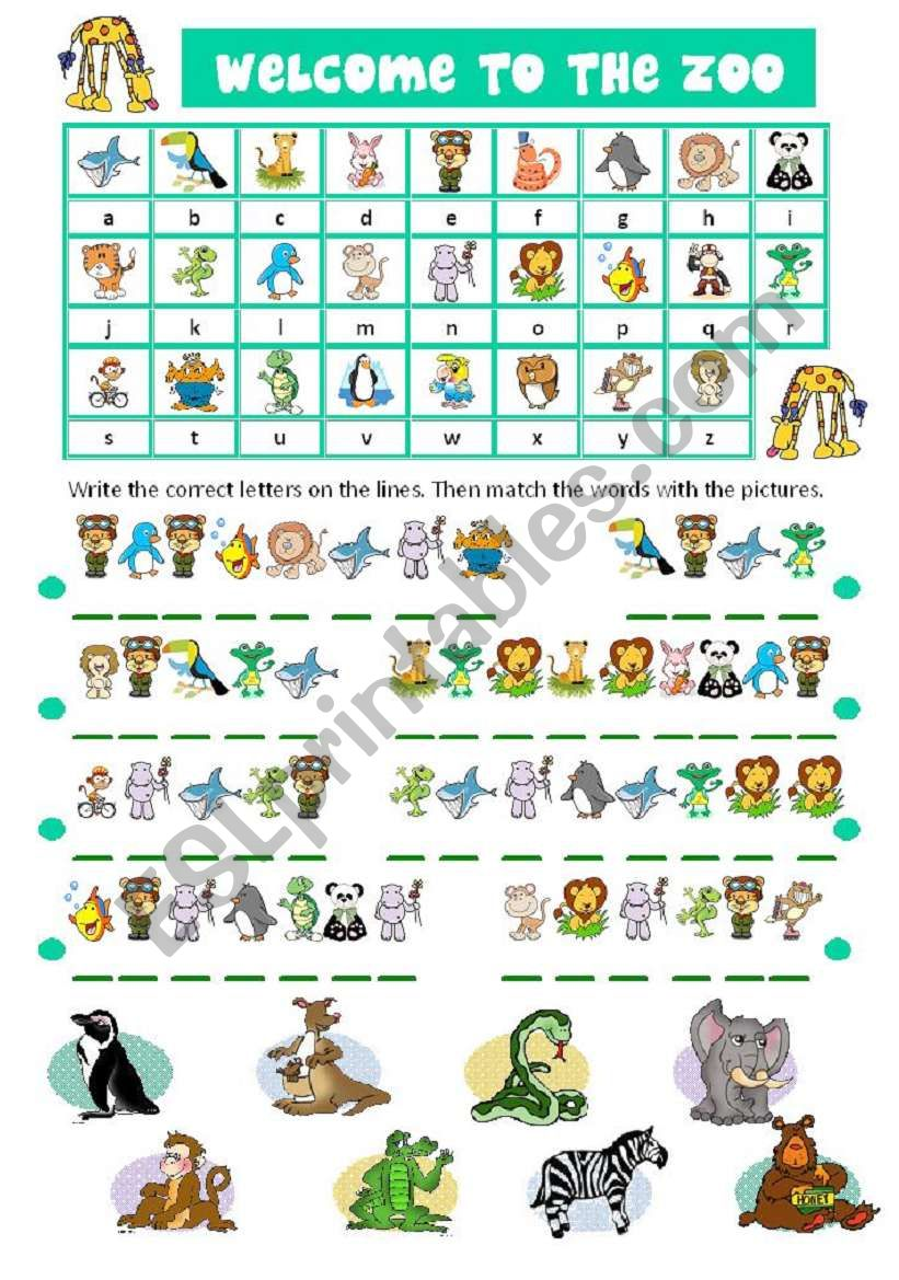 ZOO ANIMALS CRYPTOGRAM worksheet