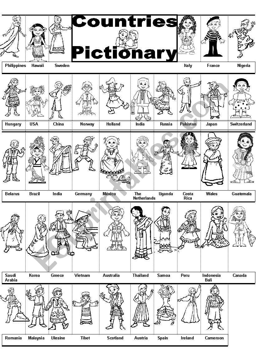 COUNTRIES PICTIONARY worksheet