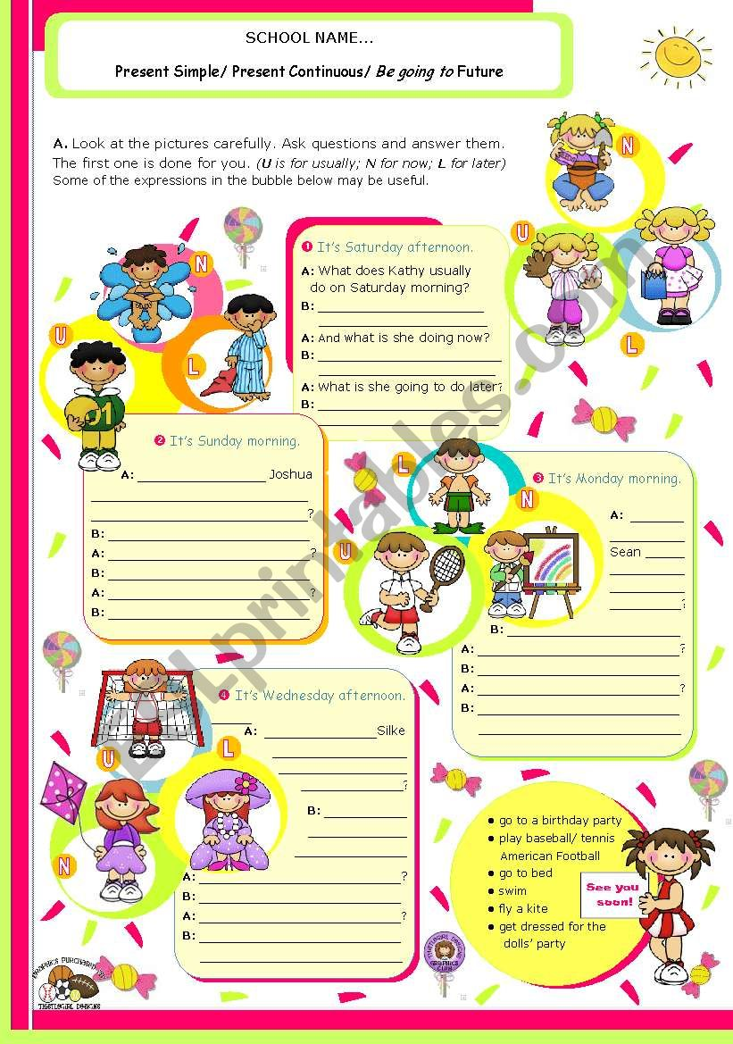 Grammar worksheet on 3 Verb tenses: Simple Present, Present Continuous and Be going to Future for Upper Elementary or Lower Intermediate students