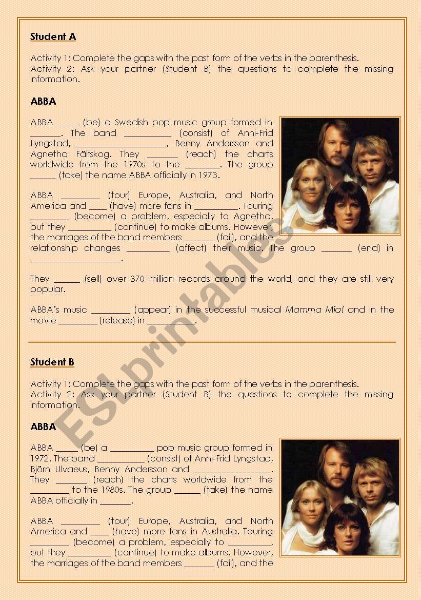 ABBA: simple past worksheet