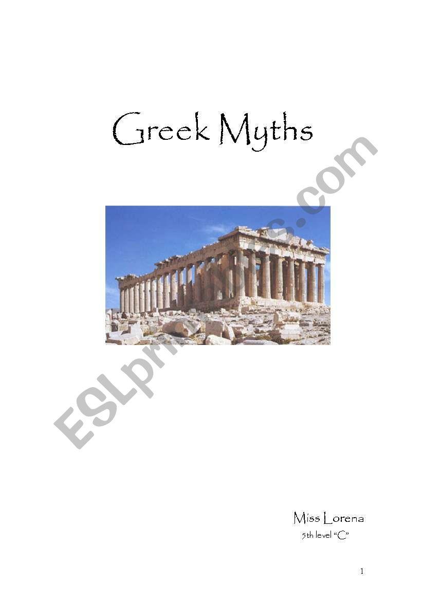 Greek Myths worksheet
