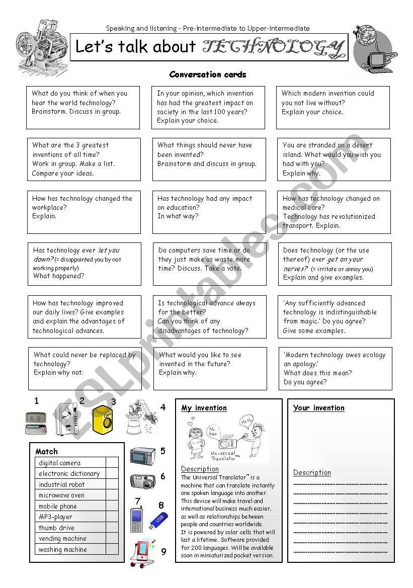 Let´s talk about TECHNOLOGY worksheet