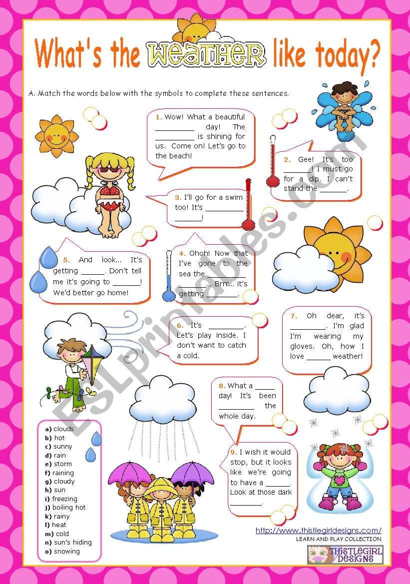 What´s the weather like today?  (1/2) - Vocabulary worksheet for Elementary and Lower Intermediate students