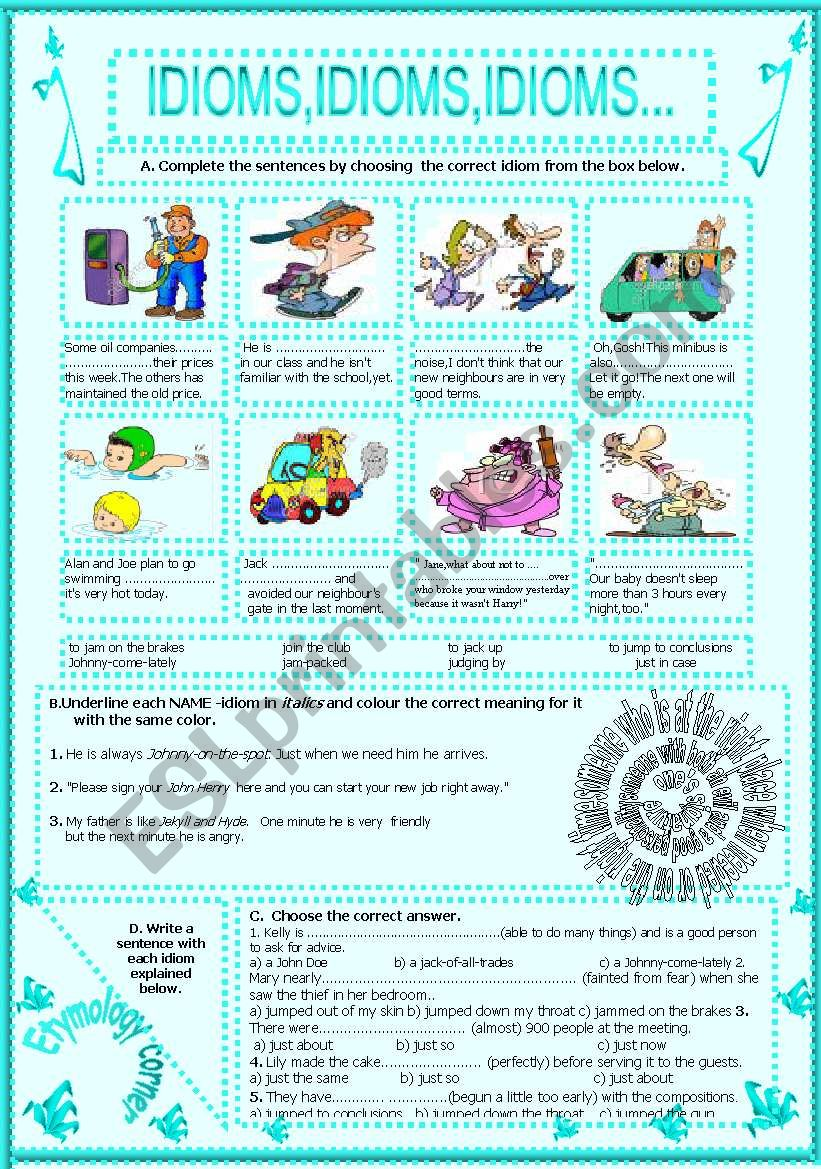 IDIOMS,IDIOMS,IDIOMS...(10) worksheet