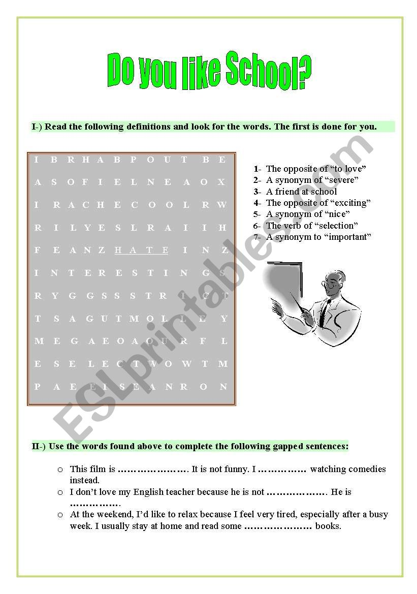 English worksheets: Do you like school?