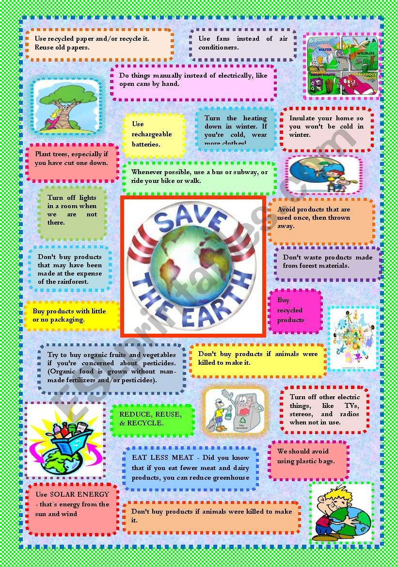 SAVE PLANET EARTH - TIPS worksheet