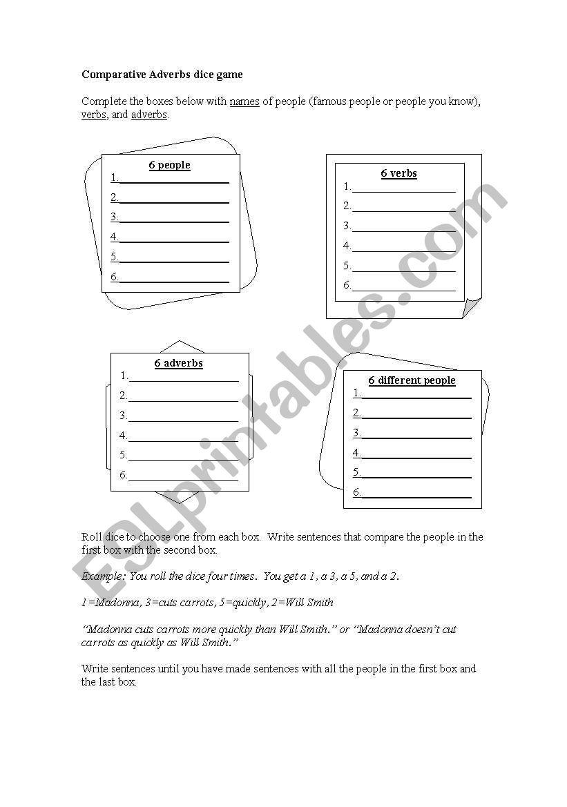 comparative game worksheet
