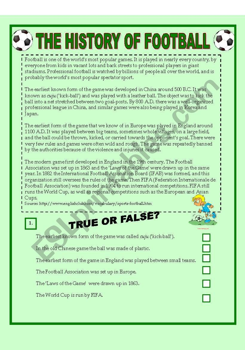 FOOTBALL - Reading Comprehension, Matching exercise, Speaking (3 pages) +KEY