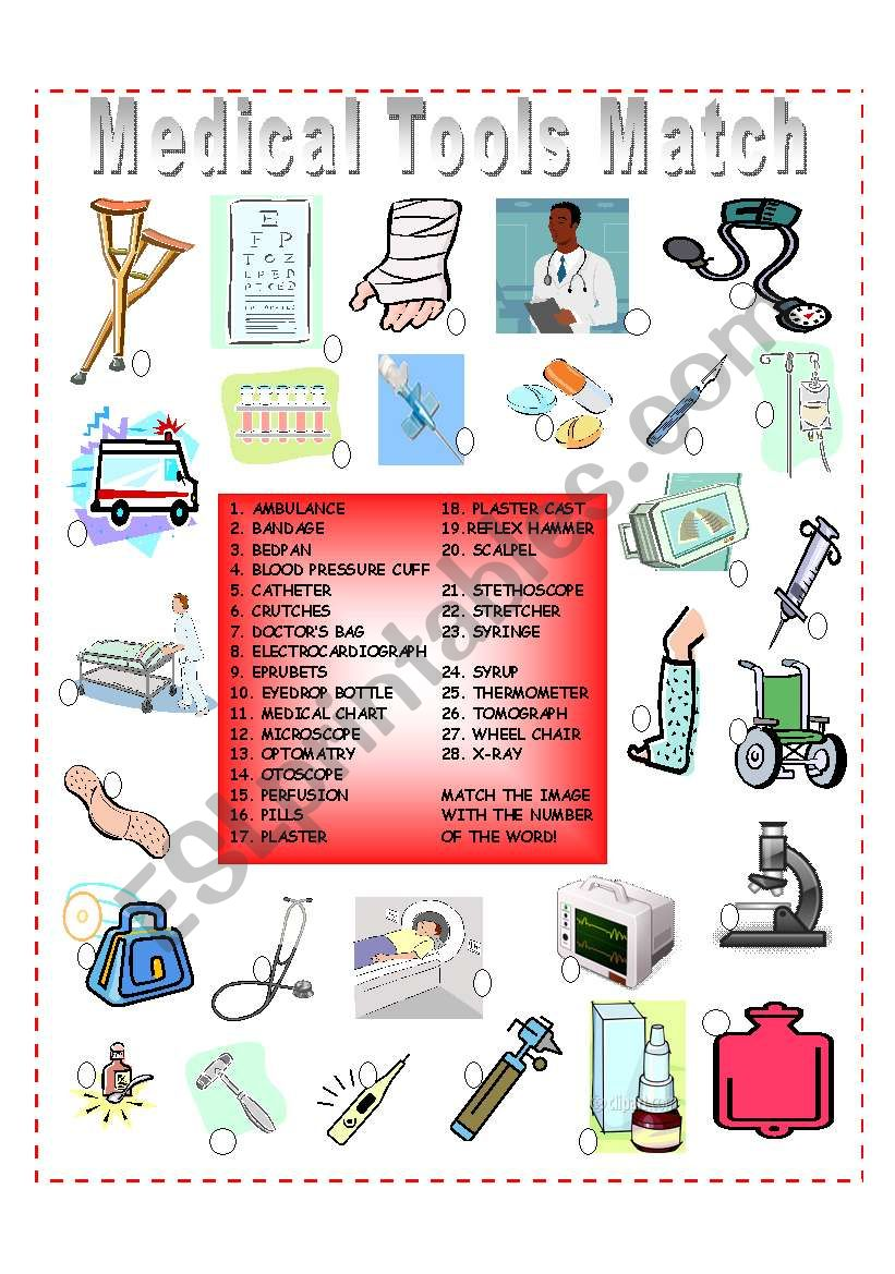 Medical Tools Matching worksheet