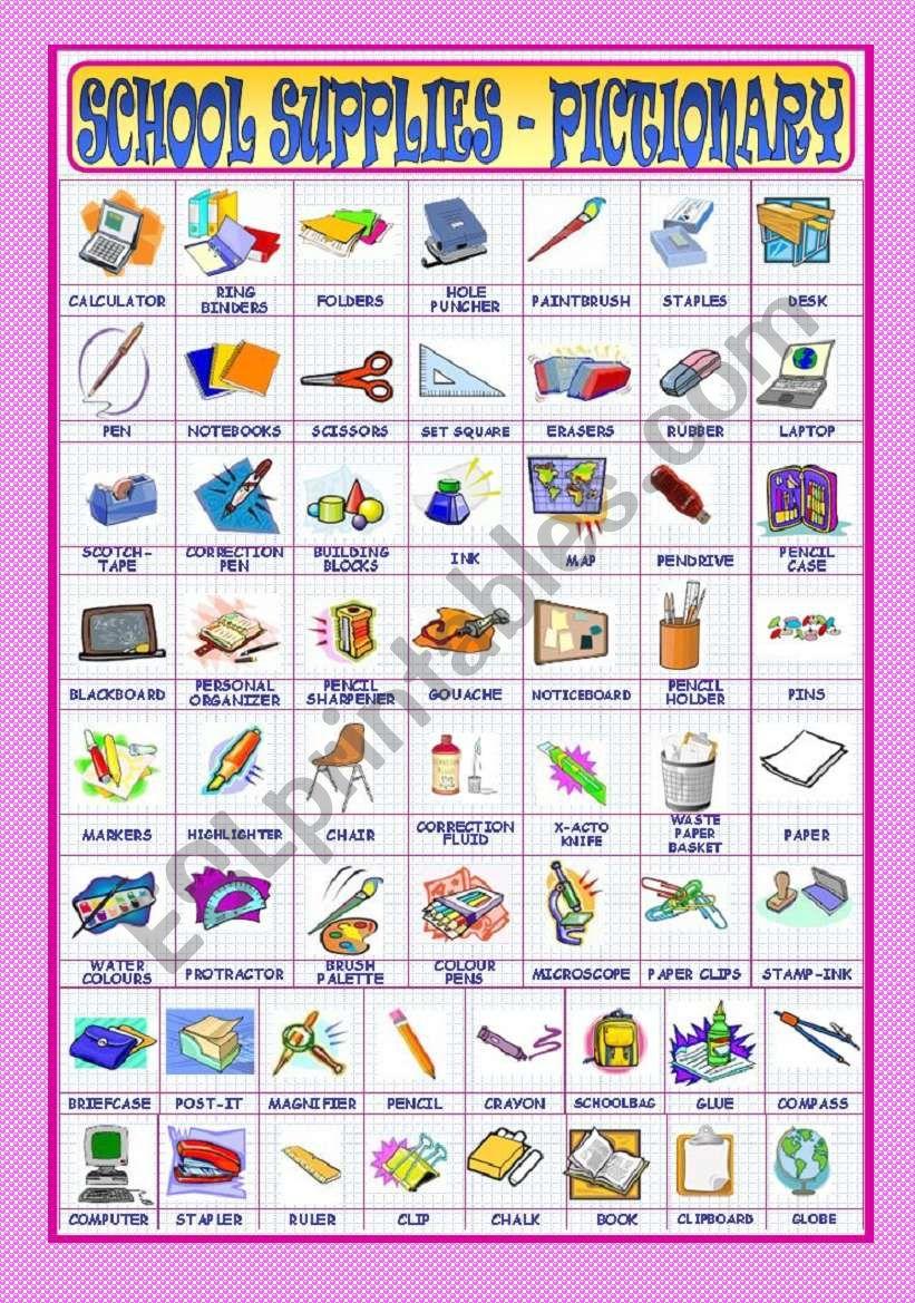 School Supplies - Pictionary worksheet
