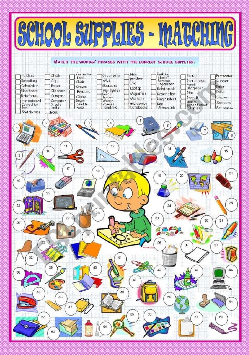 School Supplies - Matching worksheet