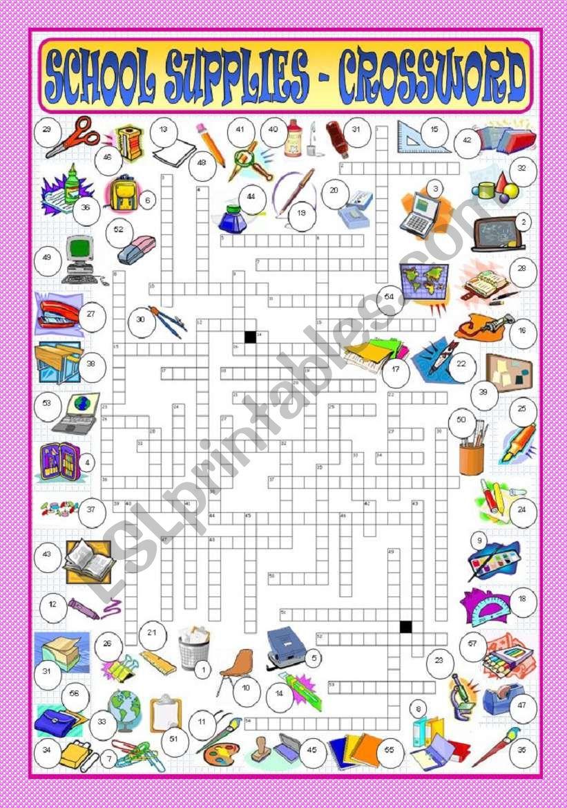 School Supplies - Crossword worksheet