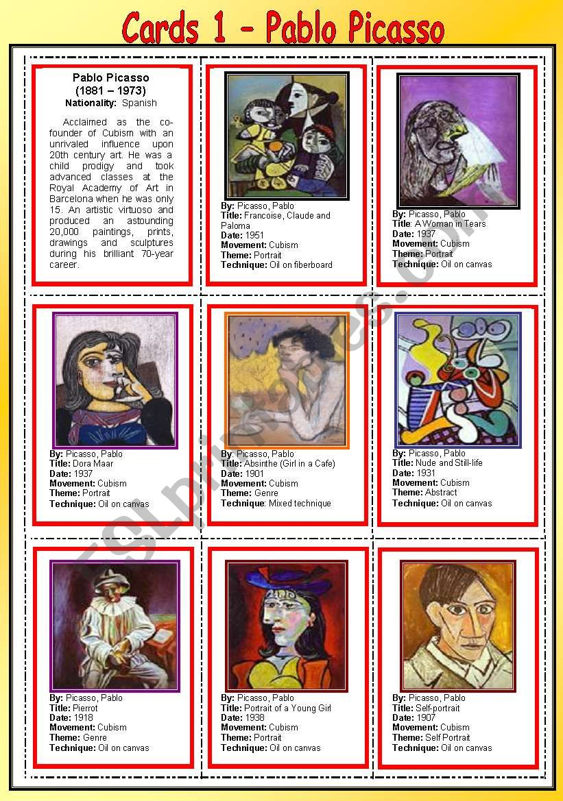 Cards 1 - Pablo Picasso worksheet