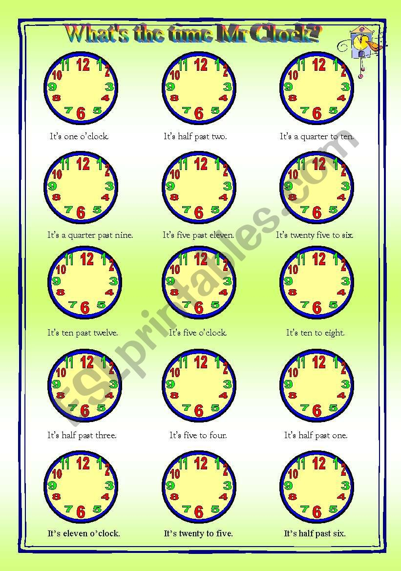 What´s the time Mr. Clock? - worksheet