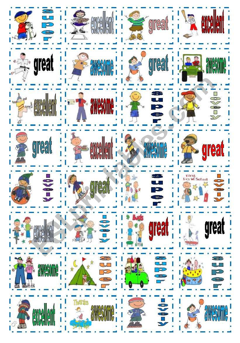 Cute stickers for boys worksheet