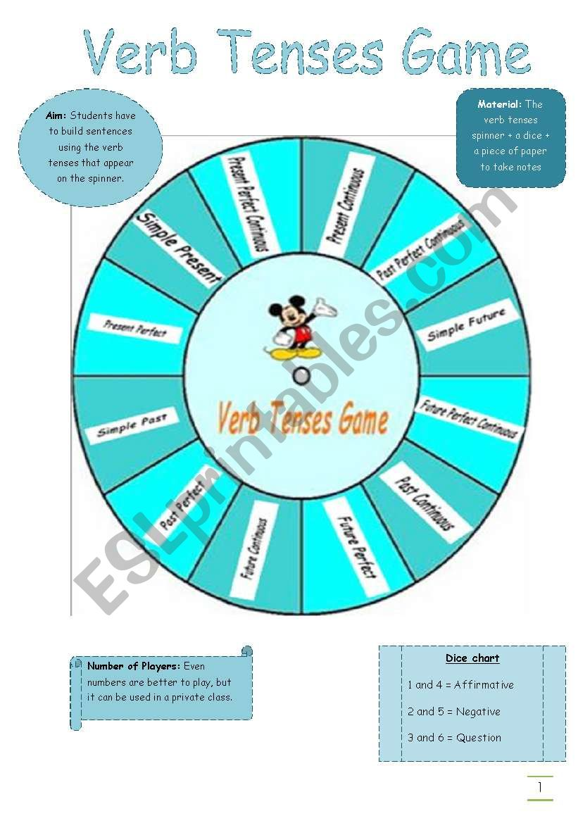 Verb Tenses Game worksheet