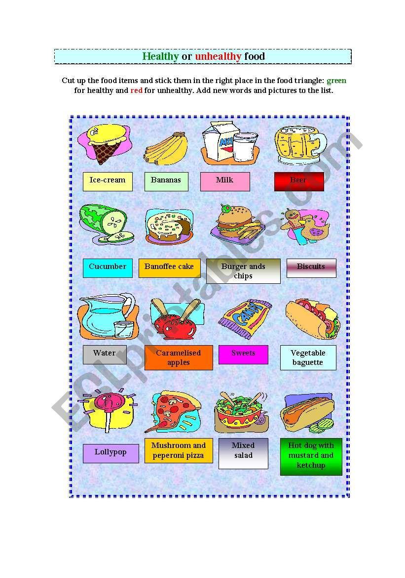Healthy food - ESL worksheet by susana1974