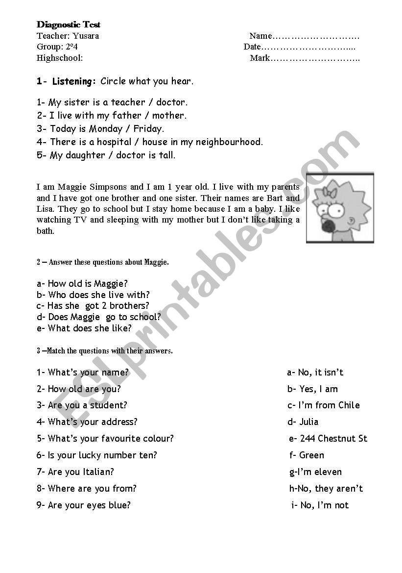 Diagnostic Test 2nd worksheet