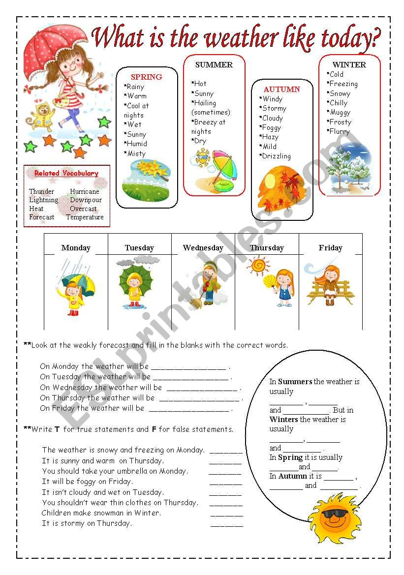 - Weather Vocabulary. - ESL Worksheet By Spring