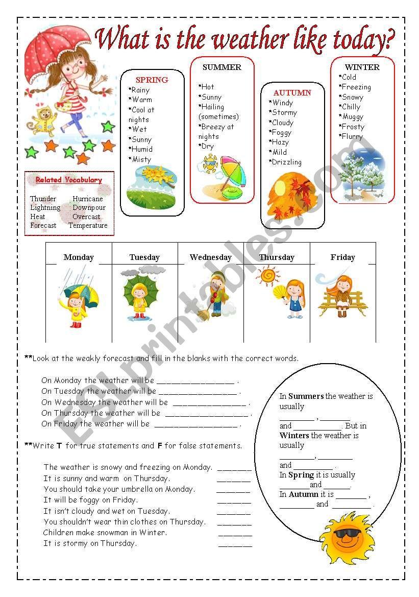 Weather vocabulary. worksheet