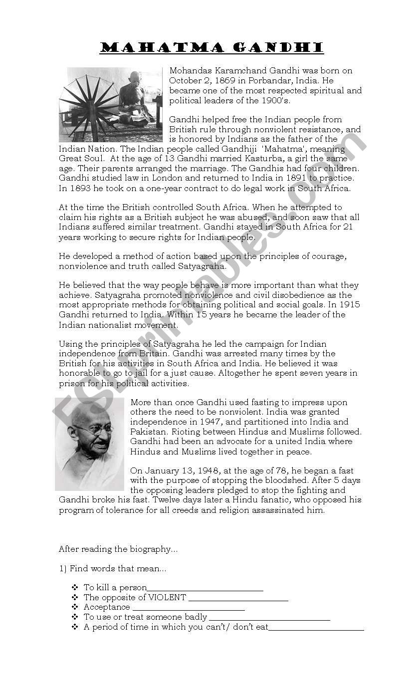 mahatma Gandhi - ESL worksheet by moramoran