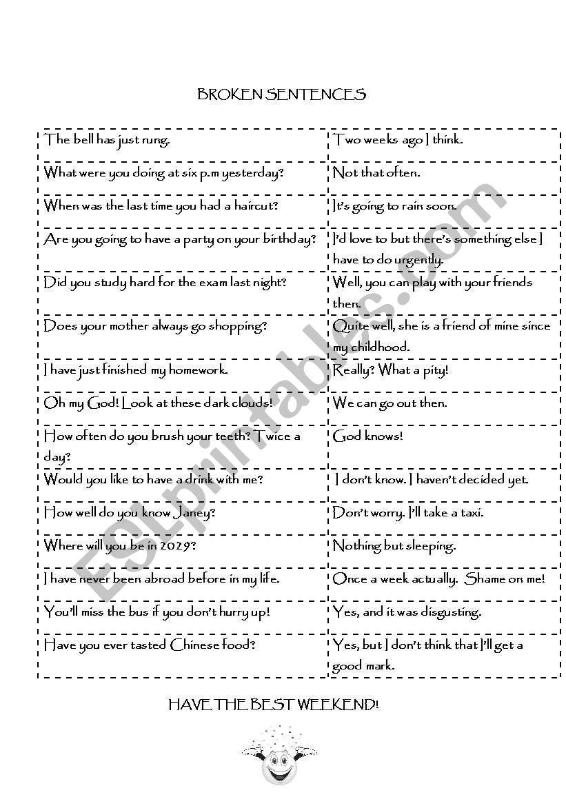 broken sentences worksheet