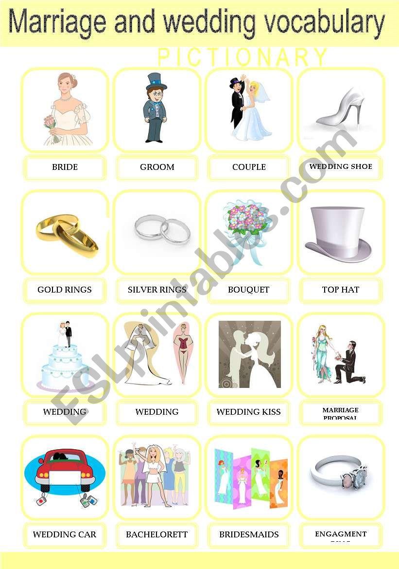 Marriage and Wedding Vocabulary Pictionary Set 1/2