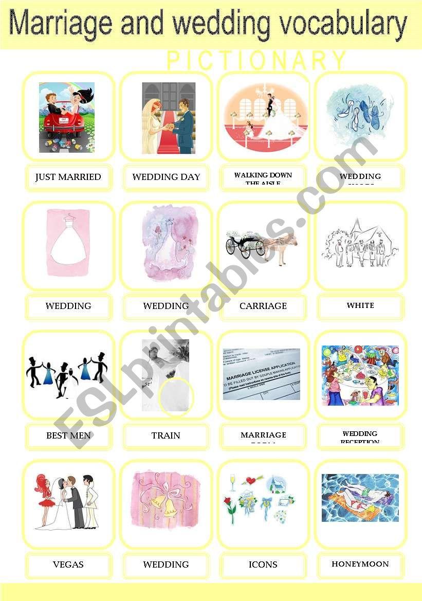 Marriage and Wedding Vocabulary Pictionary Set 2/2