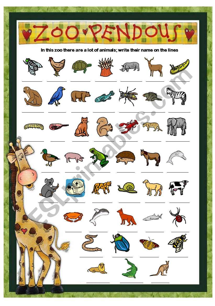 zoo pendous write the name of the animals part 2 esl worksheet
