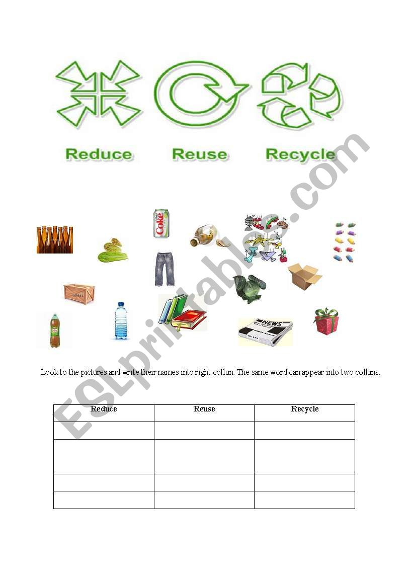 English Worksheets Reduce Reuse Recycle Pg 1