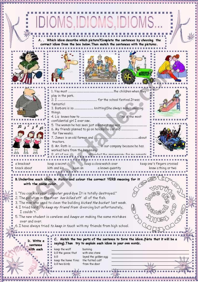 IDIOMS,IDIOMS,IDIOMS...(11) worksheet