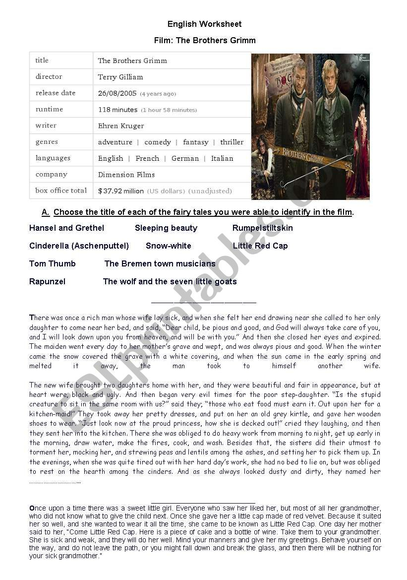 The Brothers Grimm worksheet