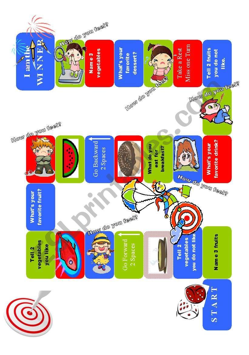 Gameboard Food & Emotions worksheet