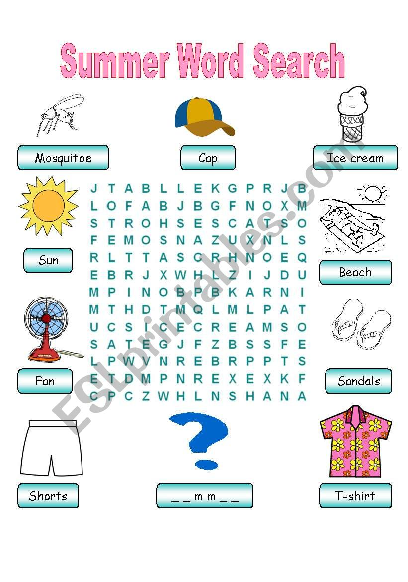 Summer Vocabulary Word Search worksheet