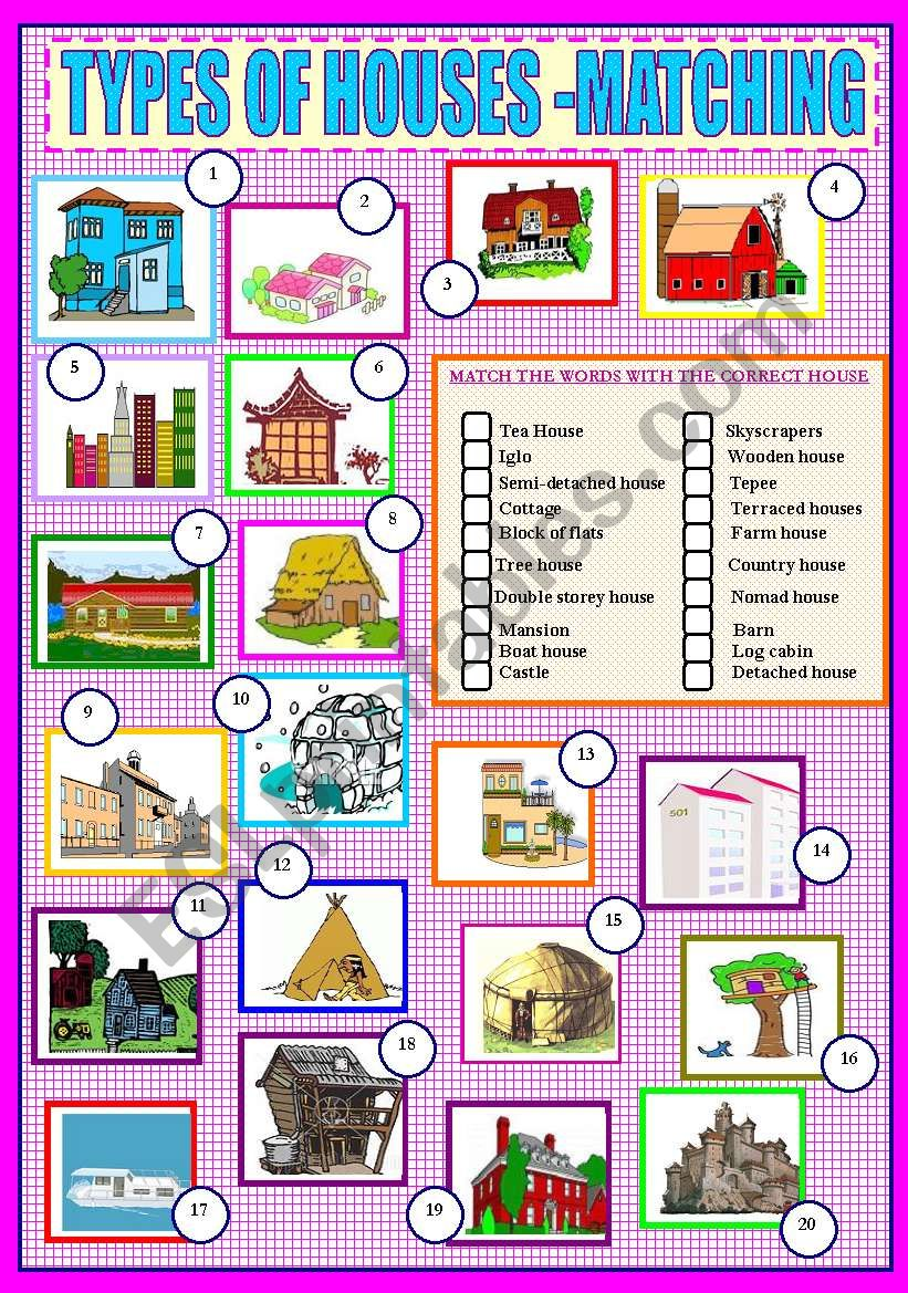 TYPES OF HOUSES  - MATCHING worksheet
