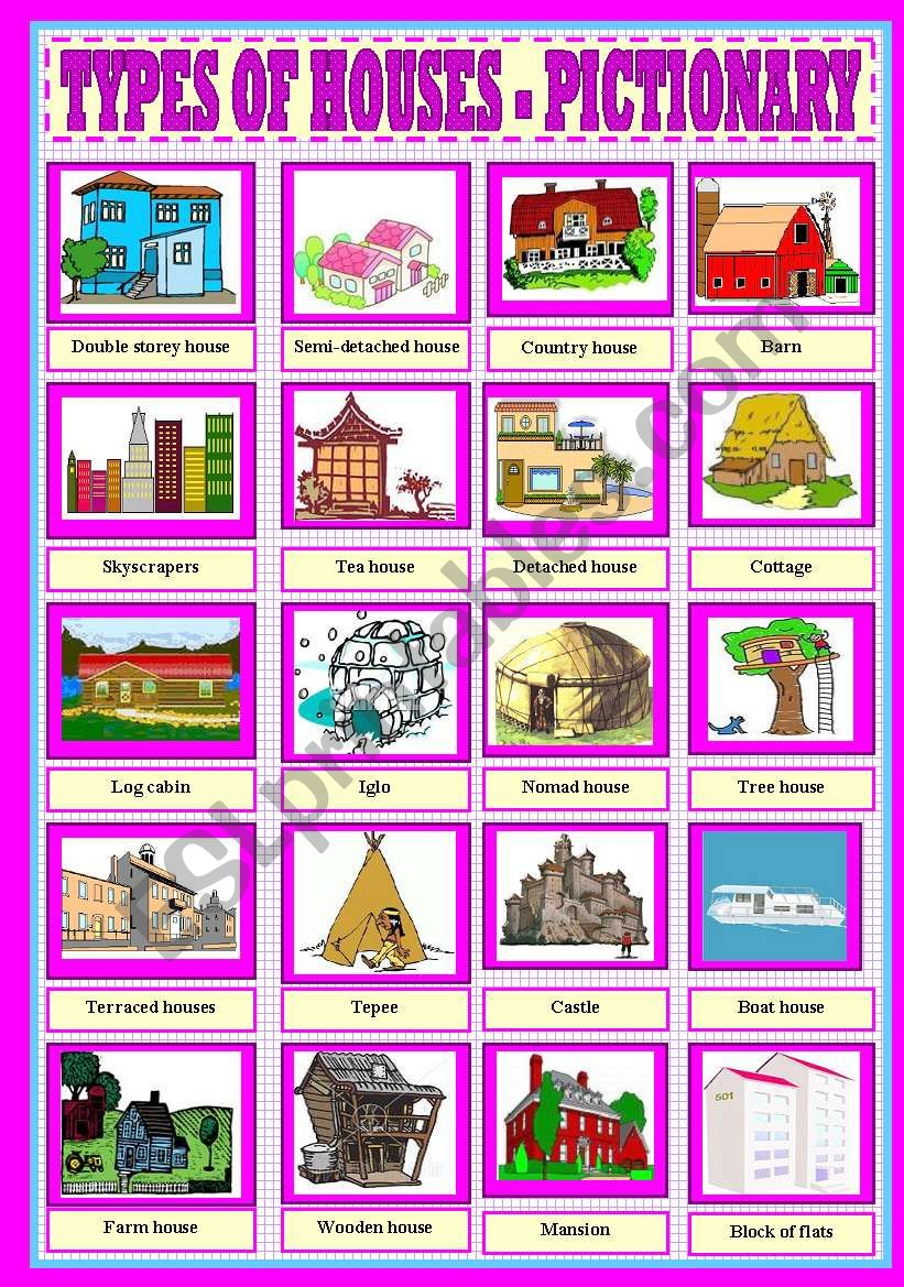 types of houses pictionary esl worksheet by rosario. Black Bedroom Furniture Sets. Home Design Ideas