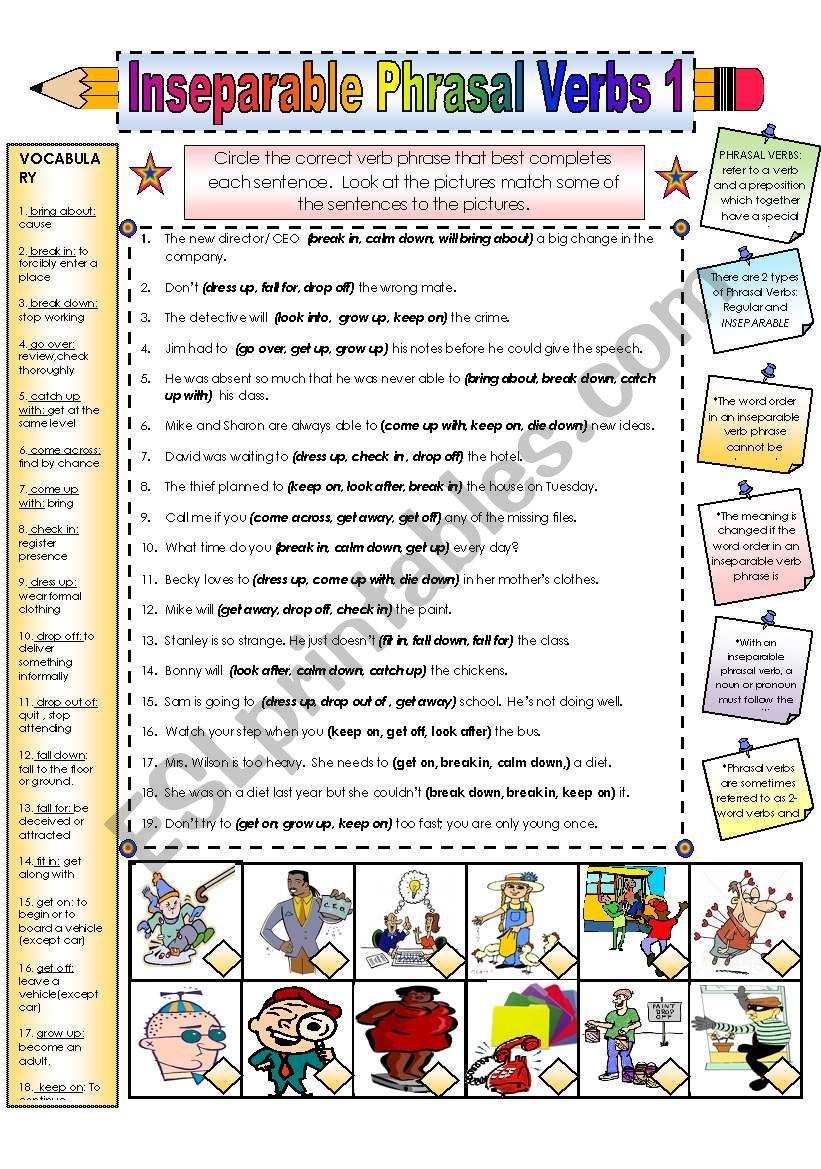 Inseparable Phrasal Verbss worksheet