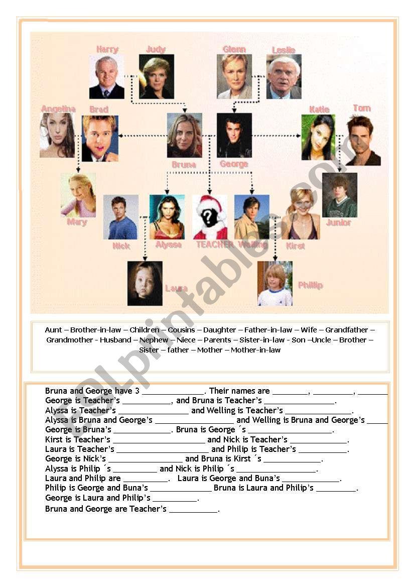 FAMILY AND POSSESSIVE worksheet