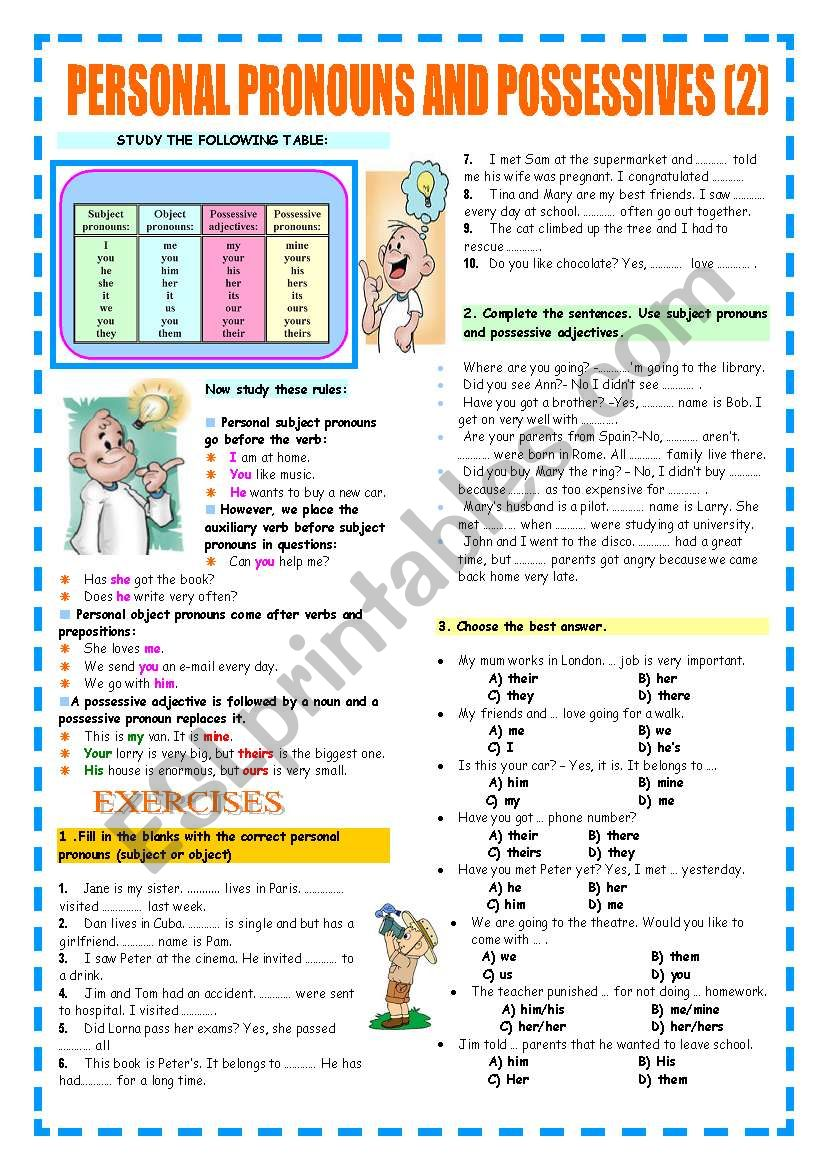 PERSONAL PRONOUNS AND POSSESSIVES (REVIEW)
