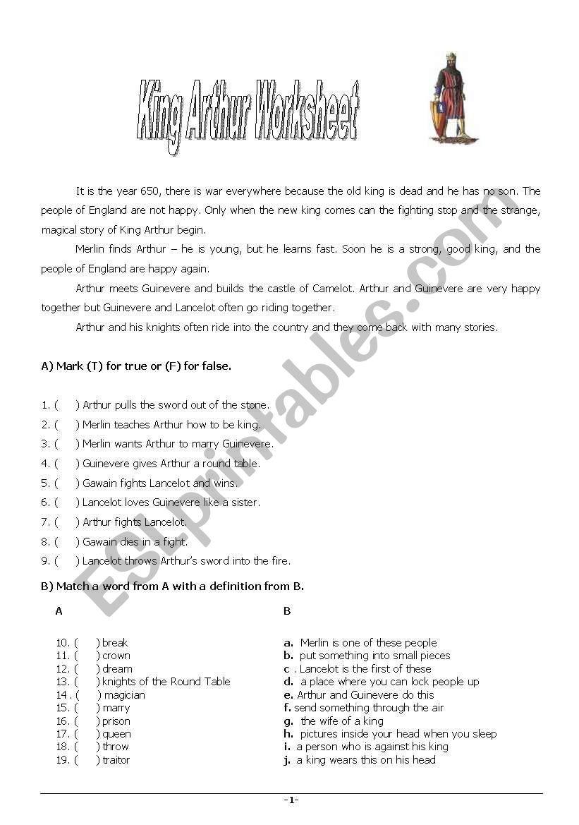 King Arthur worksheet