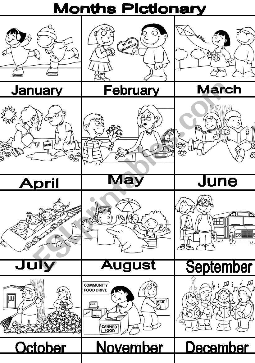 MONTHS pictionary worksheet