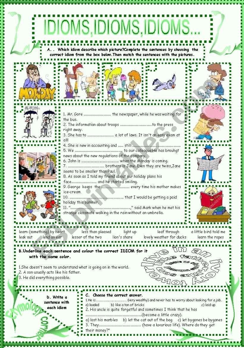 IDIOMS,IDIOMS,IDIOMS...(12) worksheet