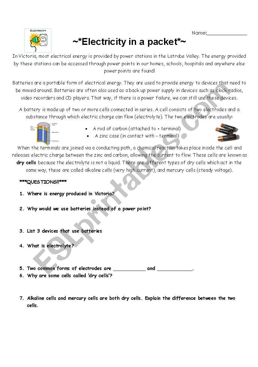 Electricity in a packet - ESL worksheet by jessica.simkin