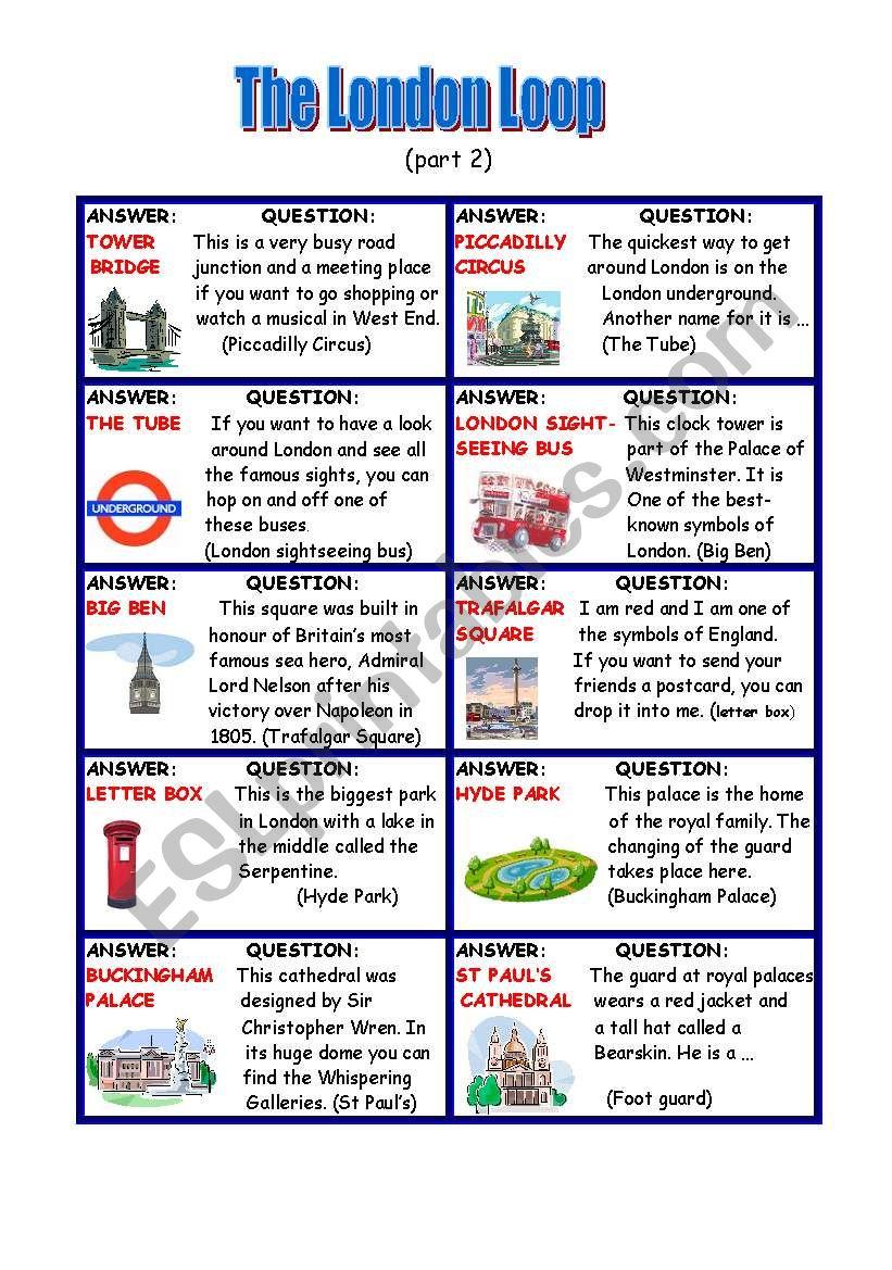 The London Loop (part 2) worksheet