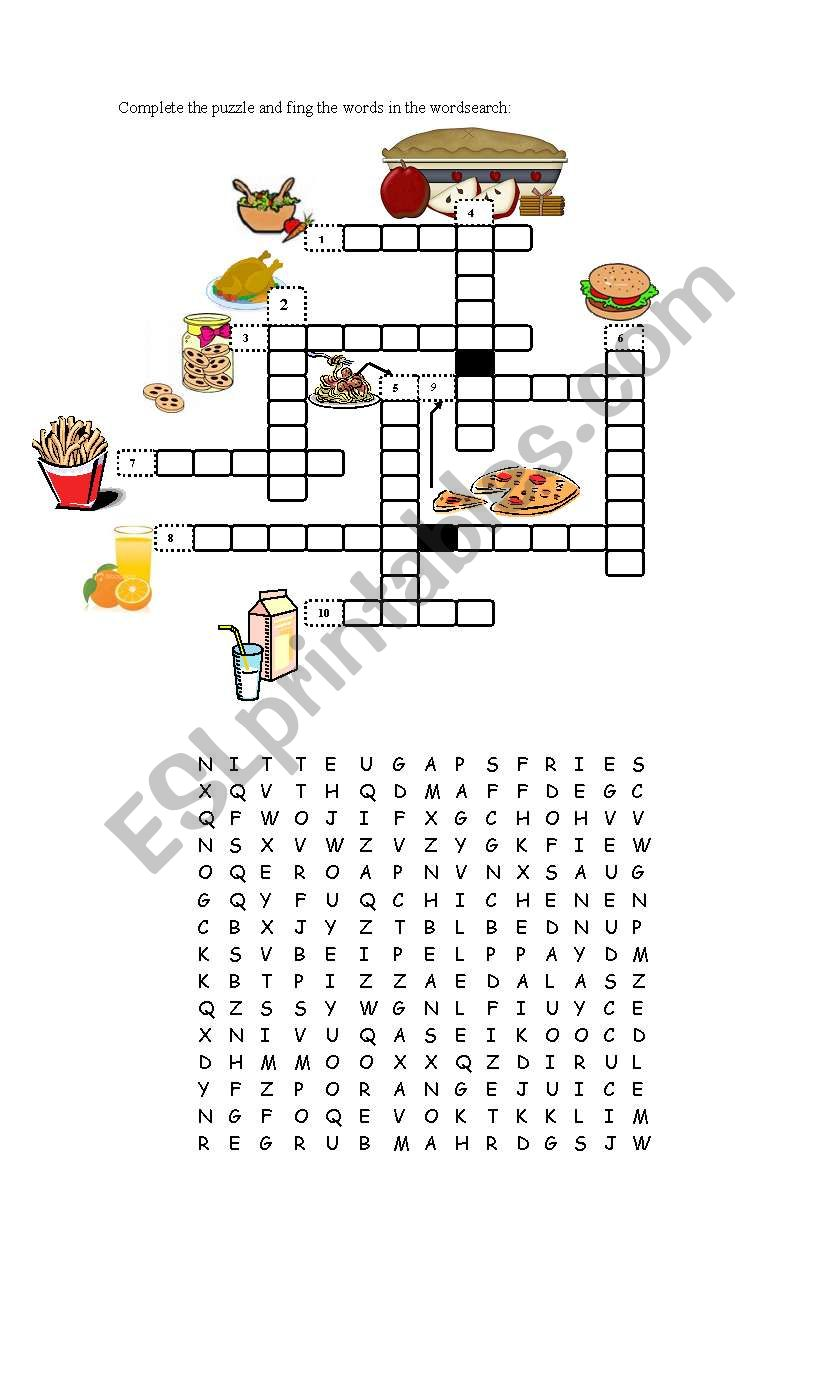 Food wordsearch and puzzle - ESL worksheet by mcris