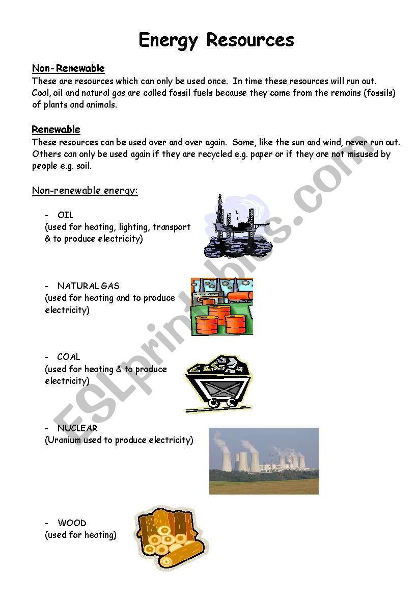 energy resources - ESL worksheet by ehamilton