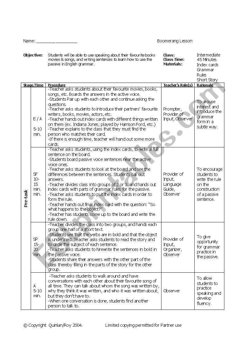 Passive Voice Lesson Plan worksheet