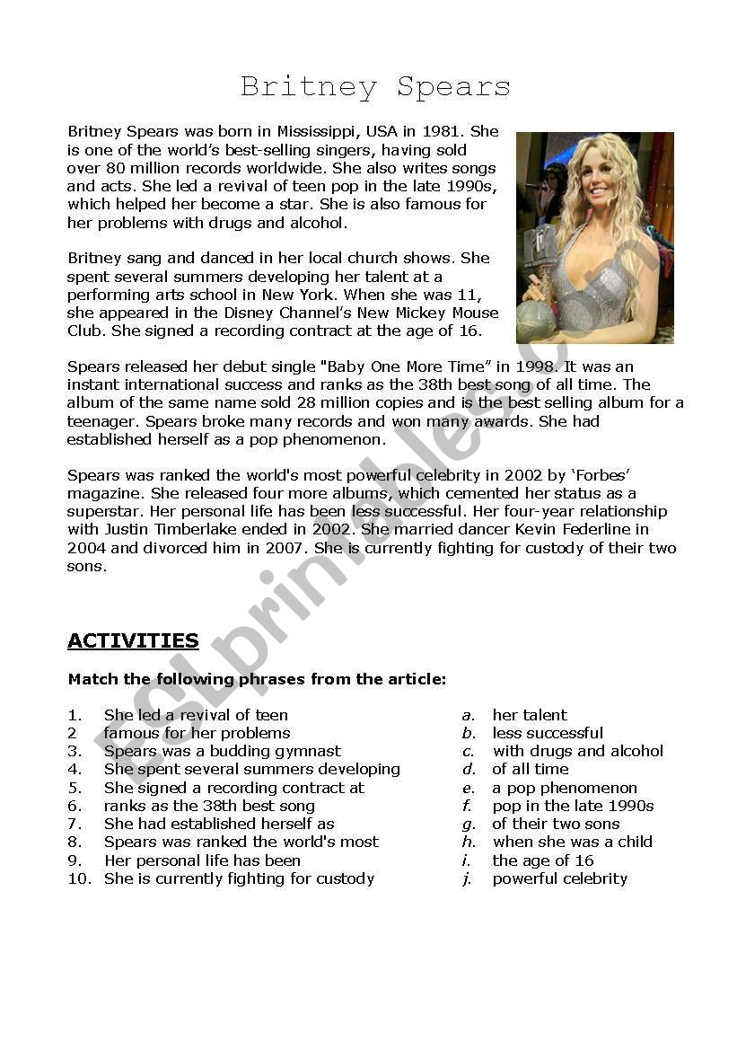 Britney Spears worksheet